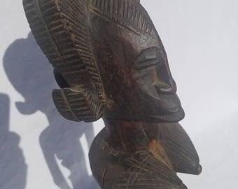 TRIBAL EXOTICS : PREMIUM Authentic fine tribal African Art - Senufo Senoufo Maternity Wood Figure Sculpture Statue Mask