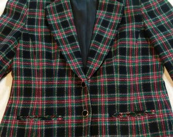 Pendleton 100% Pure Wool 70s Blue & Green Plaid Blazer Womens Size 12