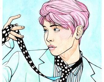 Kim Jonghyun Watercolor Painting | Original Painting | Fine Art | Kpop