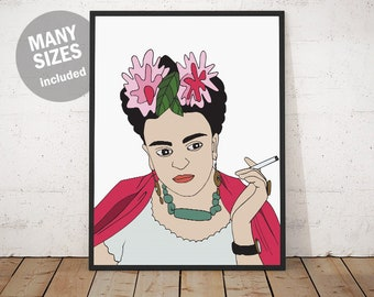 frida kahlo poster etsy. Black Bedroom Furniture Sets. Home Design Ideas