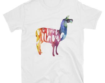 No Prob Llama Shirt, No Prob-lama, No Probllama. Cute Llama Gifts. No Problem. Funny Nerd: With Sunglasses. Watercolor Calligraphy Art. Llam