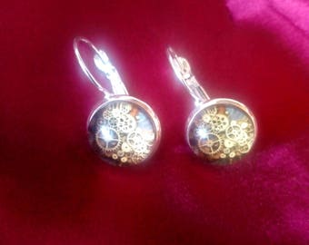 STEAMPUNK earrings, silver plated backing, gears and cogs back image, cosplay -  design E0006