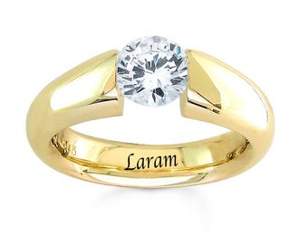 14 K Yellow Gold 1.00 Carat cubic zirconia  Tension Engegement  Ring