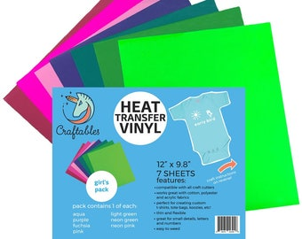 Craftables Heat Transfer Vinyl Girls Pack - (7) 9.8in. x 12in. Sheets HTV t-shirt vinyl for Silhouette, Cricut, Cameo