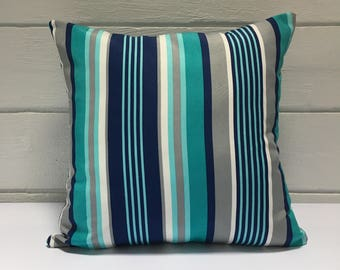 Blue Striped Outdoor Cushion