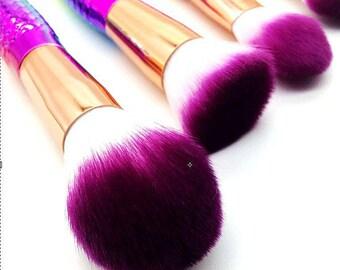 Mermaid Makeup Brushes 6 Eye Shadow Rainbow Brushes Set Mermaid Tail Fins FREE SHIPPING