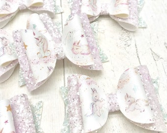 Pastel Unicorn fabric & glitter Medium hair bow clip headband