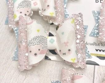 Spring hedgehog bunny rabbit fabric & glitter Medium hair bow clip headband hair accessories