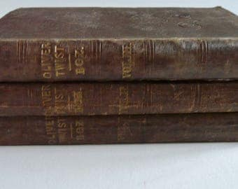 "Oliver Twist or, the Parish Boy's Progress by Charles Dickens, ""Boz"", 1838, Rare First Edition 1st issue"