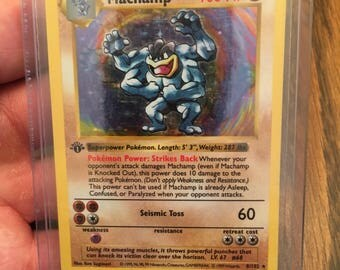 "Shadowless Pokémon card ""Machamp"" 1st Edition"
