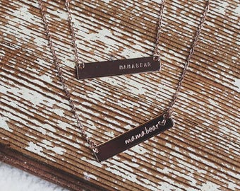 Gold horizontal personalized bar necklace