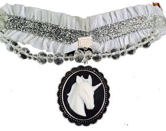 White and black unicorn fantasy choker necklace with faux crystals