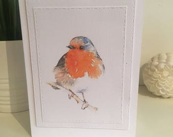 Robin card, cute christmas robin, festive robin card, christmas robin card, robin red breast, red robin card, bird card, bird christmas card