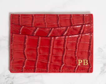 Customised Genuine Croc Leather Double Card Holder in Red, Personalised Monogrammed initials mens and womens business card holder, wallet