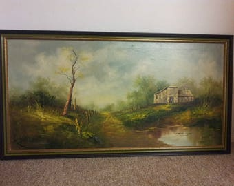 Signed Original Oil on Canvas Painting Landscape M. Anderson