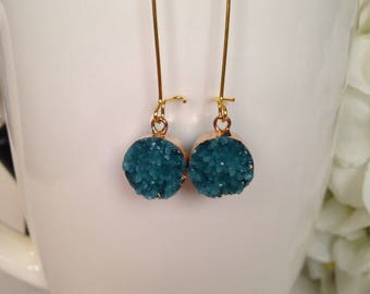 Druzy Earrings/ Teal Druzy Earrings/ Gold earrings/ Teal Earrings/ Gift Idea