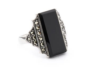 Frances Ring | Onyx, Marcasite and Sterling Silver