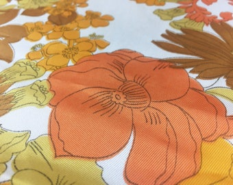 Vintage 70s fabric 50x85 cm: orange flower