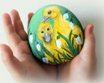 Easter birds etsy happy easter ducklings godparent gift painted stone birds easter favors easter ideas easter duckling gift for negle Images