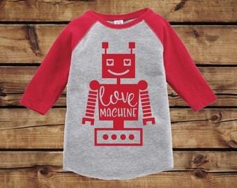 Kid's Valentine Shirt | Love Machine Robot | Toddler Raglan Tee