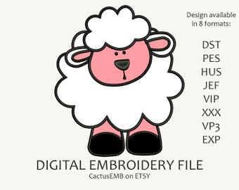 INSTANT DOWNLOAD - Cute Little Lamb Applique machine embroidery design. Embroidery for children. Kids embroidery. Embroidery design