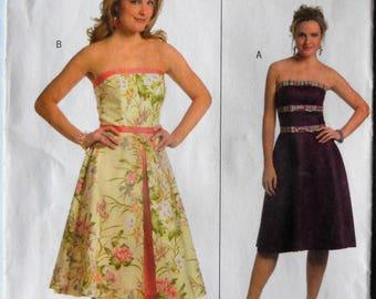 Butterick 5026.  Misses strapless short dress pattern.  Strapless bridesmaid dress pattern. Strapless prom dress pattern.  Size 6-12. Uncut.