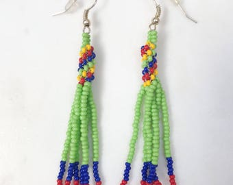 Cute dangle earrings, Beaded Earrings, Dangle and drop earrings, Handmade earrings, Shoulder dusters, Bohemian, Native American