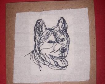 Husky embroidered card