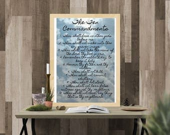 Ten Commandments Printable Wall Art Poster Instant Download
