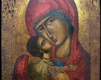 Eleusa icon. Orthodox icon Virgin of Tenderness.
