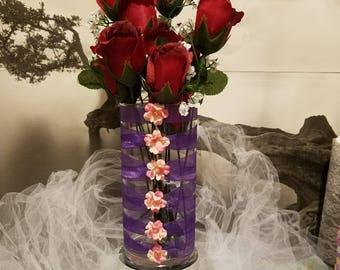 Corset Vase, Glass Bridal House, Corset, Ribbon Vase, Vase, Centerpiece vases, Wedding, Centerpiece, Favors, Bridesmaids, Guest Table,
