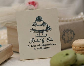 "Baking Stamp Cake design with text ""Baked By"", Personalised Custom Rubber Stamp"