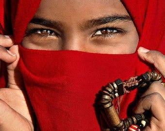 Moroccan Berber Tuareg ethnic Long Turban scarf handmade unisex adult Red and blue