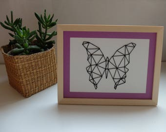 Embroidered table so geometric origami Butterfly