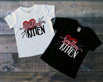 Children's Valentine's Day Tee Shirt, Smitten Kitten T-Shirt, Black or White Tee, Infants, Toddler, Youth, Girls Valentine Shirt