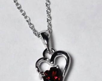 Womens Garnet Gemstone Heart Shape Drop Pendant Necklace 925 Sterling Silver 18 inch