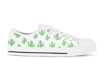 Custom Vans, Custom Sneakers, Custom Kicks, Custom Sneakers for Women, Sneakerhead, Cactus Print, Tennis Shoes, Sneakers Shoe Art, Converse