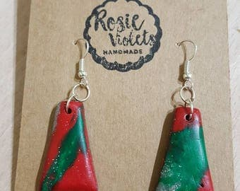 Multi coloured christmas polymer clay drop earrings