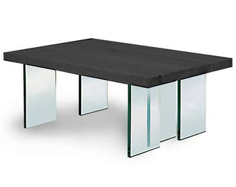 "Coffee table ""BLACK""/Coffee table ""Black"". Solid oak, legs of 19 mm thick glass"
