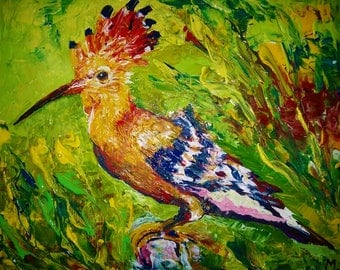 Hand painting Hoopoe-Bird-Proffesionnelle acrylic Painting- Home Decor -Canvas Art Wall