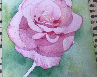Pink rose watercolor painting on cold press paper, original
