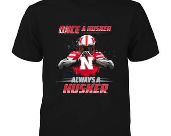 Nebraska Cornhuskers T-shirt - Once A Husker, Always A Husker - Gildan Youth T-shirt - Nebraska - Free Shipping - Officially Licensed
