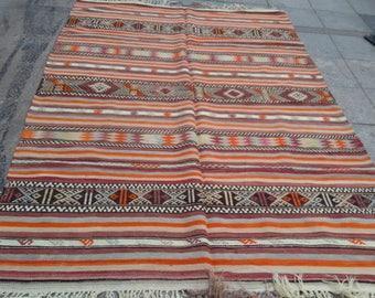 """Handmade kilim rug260x173cm 102""""x68"""",Turkish kilim rug,Anatolian kilim rug,vintage kilim rug,tribal kilim rug, Handmade kilim rug"""