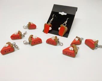 Polymer Clay pumkin pie earrings and charms handmade
