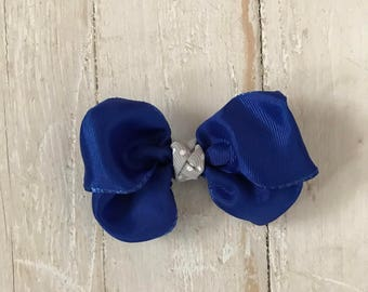 Blue 3 Inch Mini Pinwheel Hair Bow