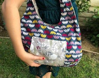 Boho Reversible Bag - Medium Navy Yellow Plum Lavender Floral Pattern - Reversible Bag - Purse - Hobo Bag - Handmade