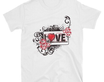 Love and flowers retro drawing - short sleeve unisex t-shirt