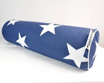 Buckwheat hull bolster pillow, yoga bolster, roll pillow, decorative bolster cushion, buckwheat pillow, stars on navy 18'' x 5''