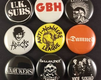 """UK Street Punk 1"""" Button Pin Set UK Subs GBH Exploited Adicts Anti-Nowhere League Damned Discharge"""