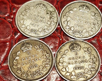 Set of 4-1917,18,19,20  Canada Silver 5 Cent, King George V